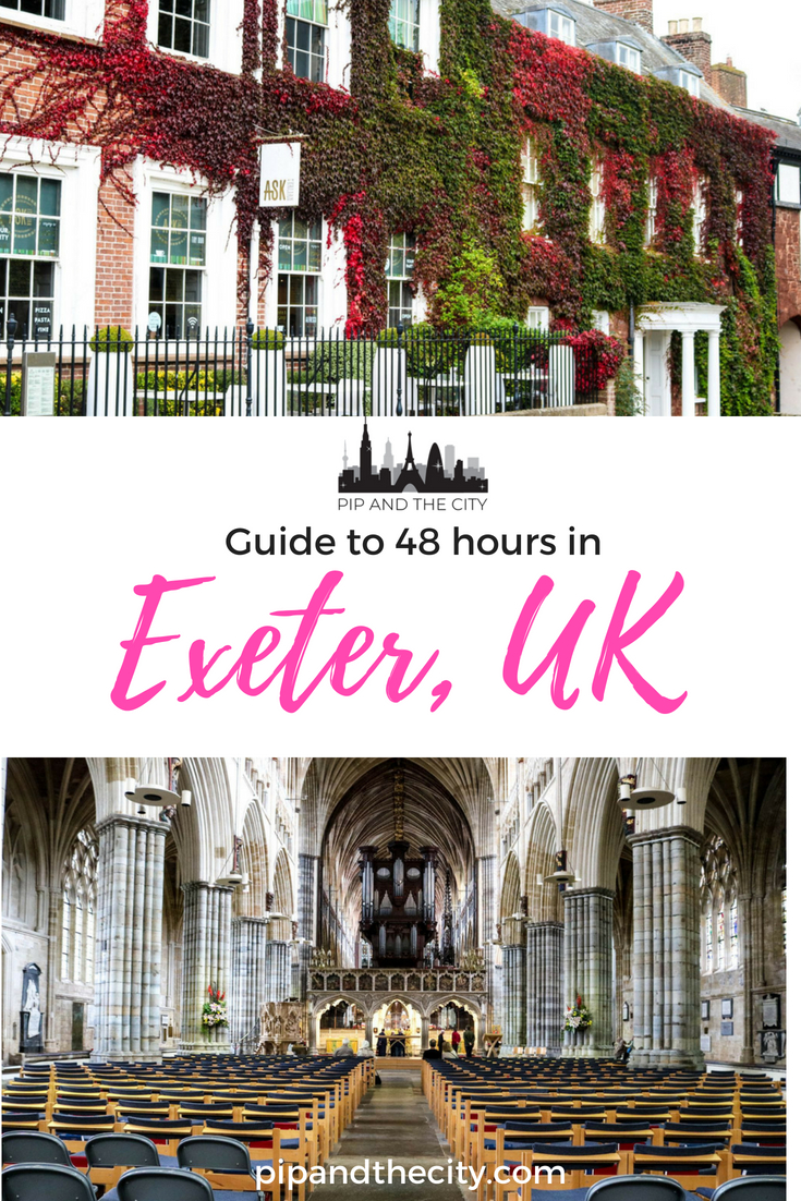 Planning a trip to Exeter in the UK? These days you will find there is a 'history meets modern' vibe in this fancy university town, with remnants of history next to shopping centres, swish bars and a multitude of eateries. Read this guide to 48 hours in Exeter for activities, shopping wine bars and foodie finds  #traveltips #Exeter #UK #Travel